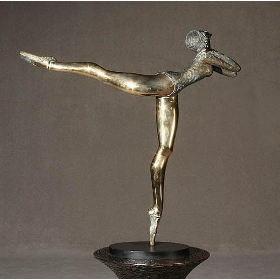 Pasargad NY Bronze Ballerina Statue - Prince Monyo Mihailescu-Nasturel Herescu (Romanian B. 1926) For Sale - Image 4 of 9