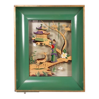 Mid 20th Century Asian Shadowbox Light For Sale
