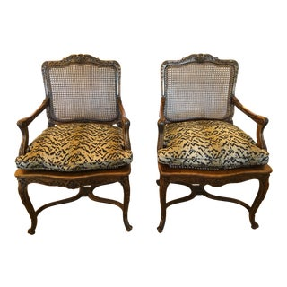 1920s Vintage Carved Walnut French Fauteuil Armchairs- A Pair For Sale
