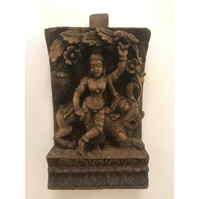 Carved Wooden Icon of Vishnu Goddess For Sale - Image 4 of 12