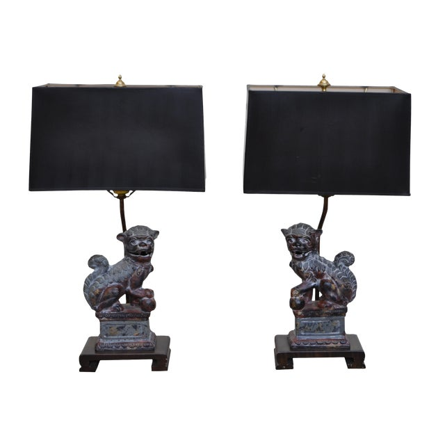 Frederick Cooper Bronze Foo Dog Lamps - A Pair - Image 1 of 7