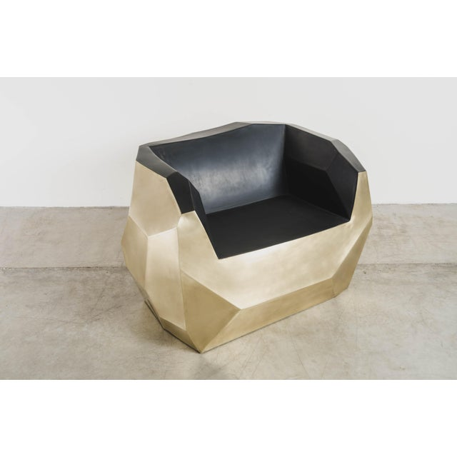 Contemporary Hand Repousse Facet Lounge Chair in Brass W/ Black Lacquer by Robert Kuo, Limited Edition For Sale - Image 3 of 9