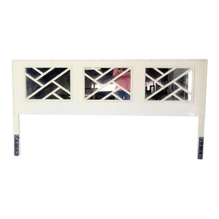 Faux Bamboo Mid Century Modern White Lacquer King Size Headboard Mirrored Back For Sale