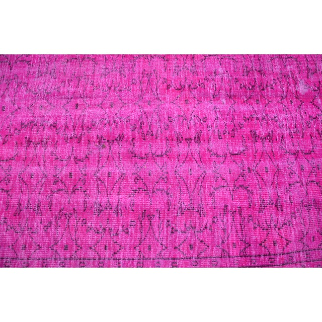 Fuscia Overdyed Floor Rug - 5′11″ × 8′11″ For Sale - Image 5 of 6