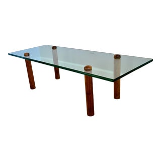 1970s Leon Rosen for Pace Collection Coffee Table Glass With Columnar Teak Legs For Sale