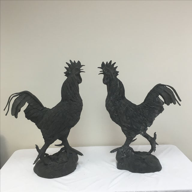 Vintage Iron Rooster Garden Ornaments - A Pair - Image 2 of 8