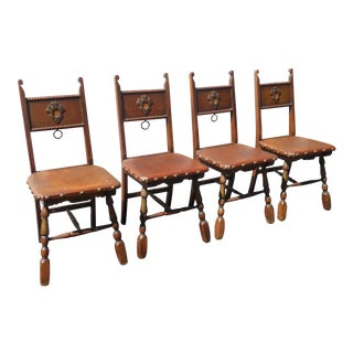 Vintage Spanish Revival Style Oak Dining Chairs W Decorative Clavos Nails - Set of 4 For Sale