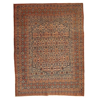 Antique Persian Tabriz Hajalili Rug - 4′6″ × 5′7″ For Sale