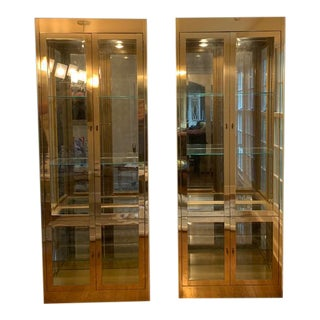 1970s Mastercraft Brass Vitrines/Cabinets-A Pair For Sale
