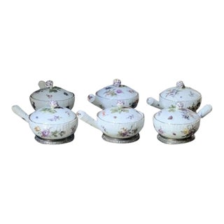 18th Century KPM Porcelain Covered Ramekins Mounted on French Risler and Carre Silver Bases - Set of 6 For Sale
