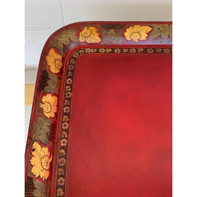 Regency Tole Tray Table in Red, Faux Bamboo Ebonized Base For Sale - Image 10 of 12