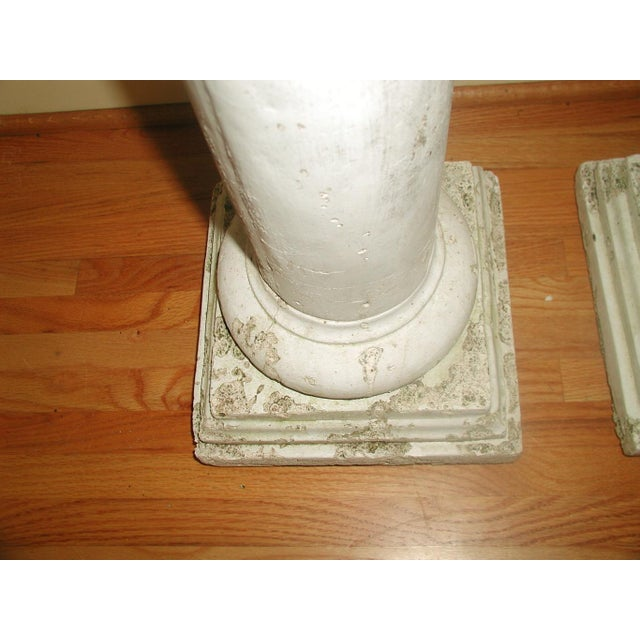 Tan Architectural Plaster Column Table Bases - a Pair For Sale - Image 8 of 8