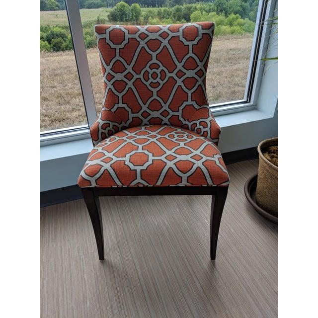 2010s Woodbridge Orange Lattice Upholstered Dining Chairs - a Pair For Sale - Image 5 of 5