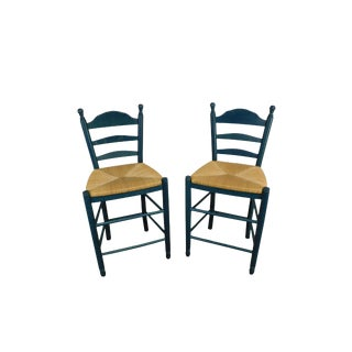 Country Style Blue Painted Rush Rush Seat Ladder Back Counter Stools For Sale