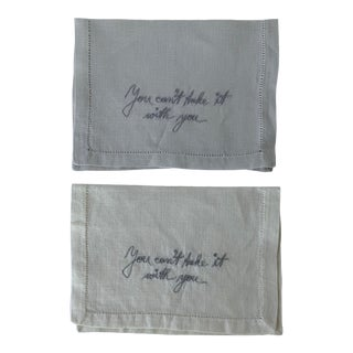 Pair of 1950s Embroidered Linen Cocktail Napkins For Sale