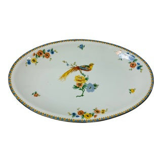 Vintage Czech Hand Painted Floral Bird Serveware Platter Numbered For Sale