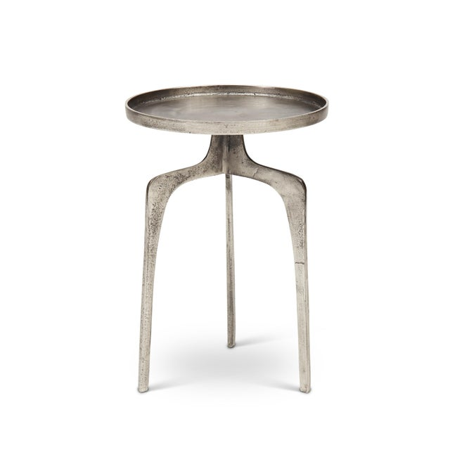 Metal Cameron End Table, Vintage Silver For Sale - Image 7 of 7