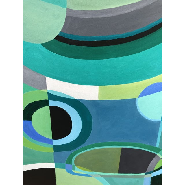 Large Rectangular Abstract Painting in Blues and Greens For Sale - Image 4 of 7