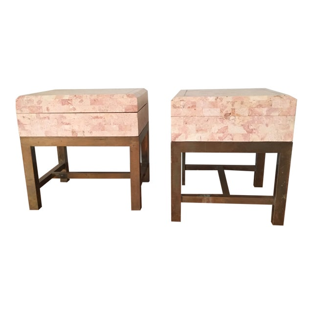 1970s Art Deco Maitland Smith Tessellated Box End Tables - a Pair For Sale