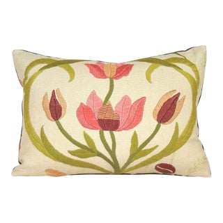 Hand-Embroidered Floral Crewelwork Lumbar Pillow Cover For Sale