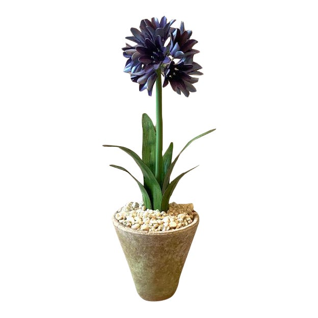 Tommy Mitchell Agapanthus Handmade Tole Potted Plant For Sale