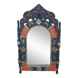 Arched Orange Dye Camel Bone Mirror, Br 1 For Sale