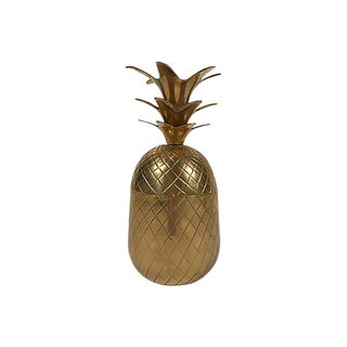 Lidded Brass Pineapple Jar For Sale