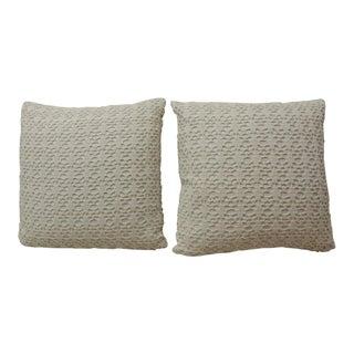 1960s Boho Chic Crochet White on White Decorative Pillows - a Pair