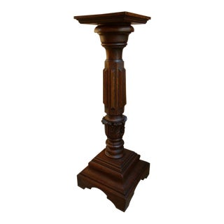 Antique 1900s French Carved Oak Pedestal For Sale