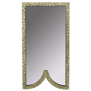 Faux Mother-Of-Pearl and Black Lacquer Mirror by Baker For Sale