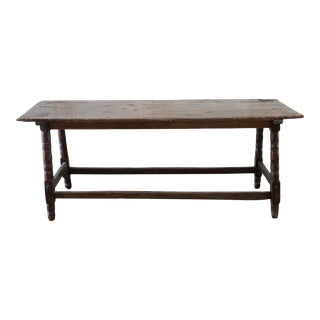 19th Century Rustic European Dark Wood Table For Sale