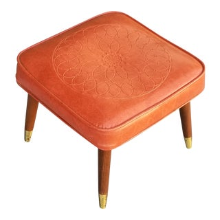 Vintage Mid Century Danish Modern Embossed Orange Stool Bench W Peg Legs For Sale