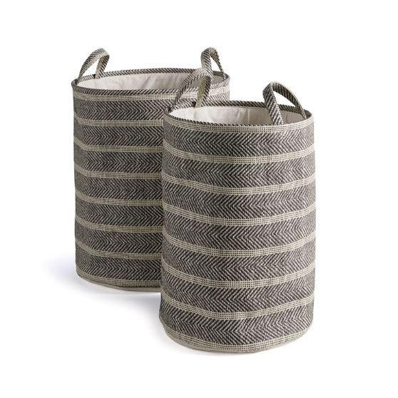 Contemporary Marleigh Round Baskets from Kenneth Ludwig Chicago - Pair For Sale - Image 3 of 3