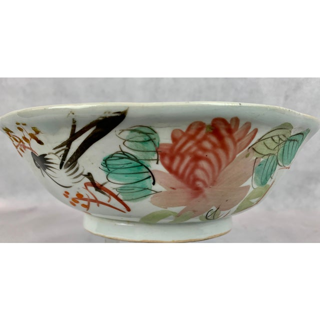 Chinese Porcelain Bowl With Flowers and Poem on the Reverse For Sale - Image 4 of 8