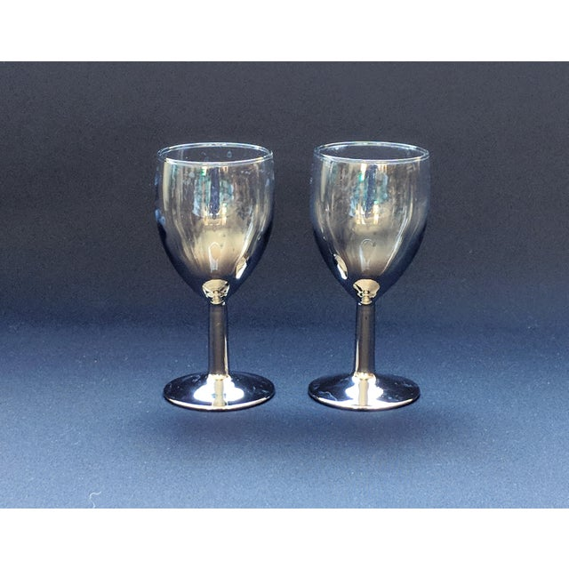 Glass Lusterware Silver Ombre Glasses - Set of 6 For Sale - Image 7 of 13