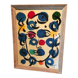 """""""Paris Lady"""" 1977 Colorful Abstract Face Painting by Peter Keil For Sale"""