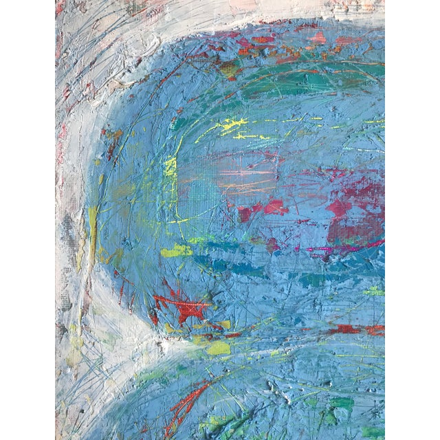 """Abstract Original Mixed Media Painting """"Colliding Worlds"""" For Sale - Image 3 of 10"""
