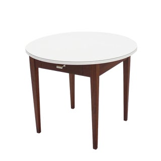 Nice Oiled Walnut Base Round Laminated Top Side Table For Sale