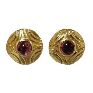 Modern 14k Gold Cabochon Pink Tourmaline Omega Pierced Back Earrings For Sale