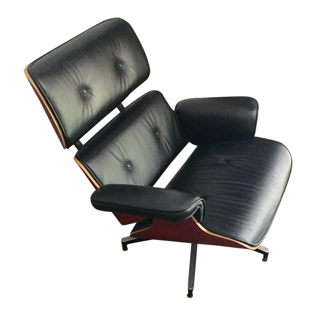 Mid-Century Eames Style Black Leather Chair - Image 1 of 4