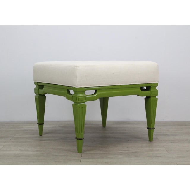 Lacquer Mid-Century Cream Linen Benches, a Pair For Sale - Image 7 of 13