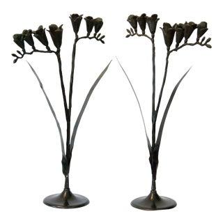 Decorative Cast Metal Flowers - a Pair For Sale
