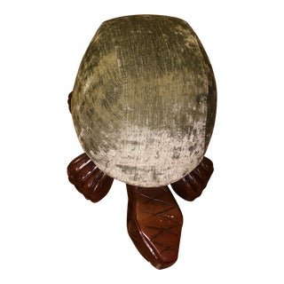 1980s Velvet Covered Turtle Footstool For Sale