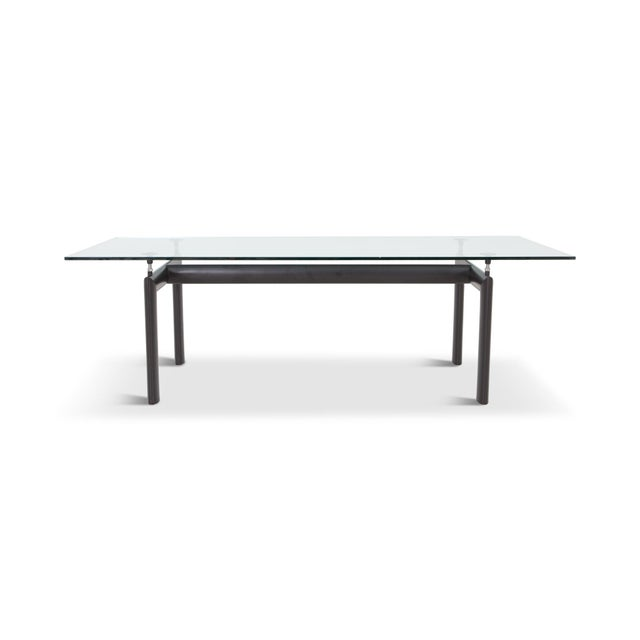 Cassina produced LC6 dining table designed by Le Corbusier, made in France, 1928. The large black coated tubular steel...