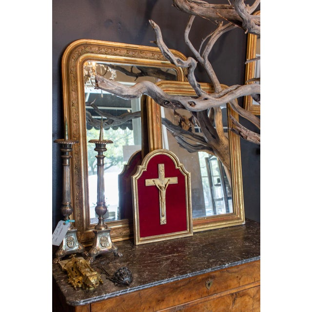 Antique French Gilt Louis Philippe Mirror With Floral Details For Sale - Image 12 of 13