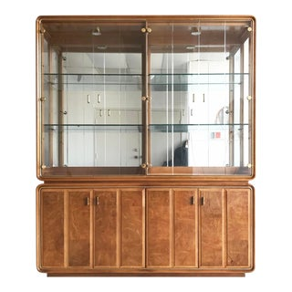 American of Martinsville Late Mid Century Burlwood + Glass Hutch Cabinet For Sale
