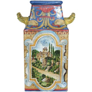 Hand Painted Faience Square Vase For Sale