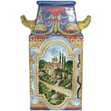 Image of Italian Hand Painted Faience Square Vase For Sale
