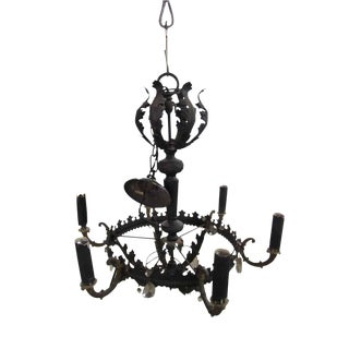 Black Iron Six Arm Chandelier For Sale