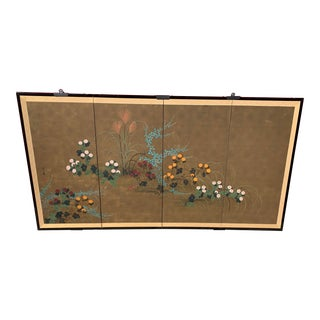 Japanese Rinpa Style 4 Panel Chrysanthemum Asian Screen Table Top For Sale